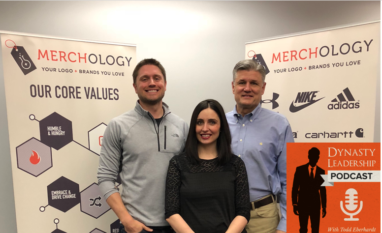 Merchology leaders: Andrew Ward, Ally Delgado and Dick Ward. Special guests on the Dynasty Leadership Podcast - DynastyLC.com